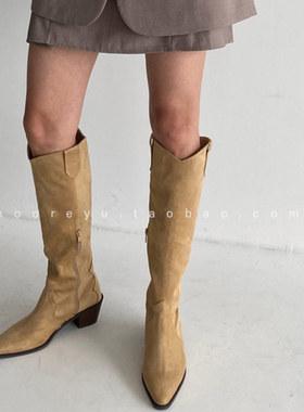 韩国代购西部牛仔靴子女长筒靴秋冬新款尖头复古英伦风高筒骑士靴