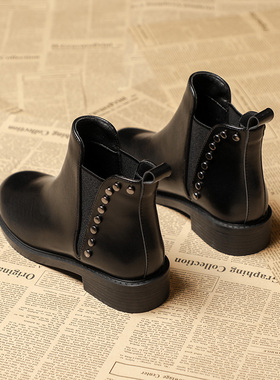 短靴女2021新款秋冬瘦瘦切尔西平底41马丁靴子43大码女鞋春秋单靴