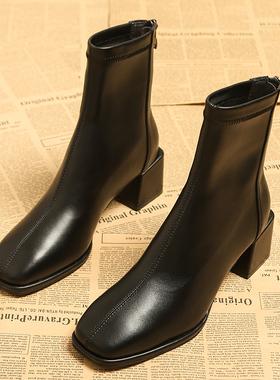 瘦瘦靴女2021年春秋季新款中粗跟早秋款单靴秋冬女鞋靴子高跟短靴