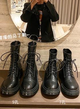 马丁靴女秋冬中筒靴英伦风2021新款厚底显瘦圆头短靴机车短筒靴子