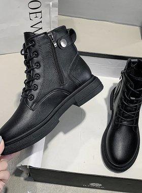 马丁靴女2021新款春秋单靴平底显脚小瘦瘦靴百搭爆款英伦风短靴子