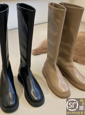 显瘦长筒靴女春秋冬单靴2021新款厚底高筒马丁靴平底不过膝长靴子