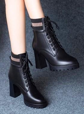 雪地意尔康高跟短靴女2021新款真皮粗跟马丁靴子防水台女鞋中筒靴