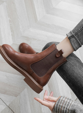 真皮马丁靴女英伦风2021年秋冬季新款加绒短筒百搭切尔西短靴子