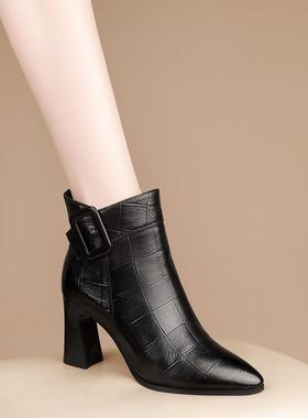 雪地意尔康高跟短靴女2021新款冬季女鞋尖头粗跟春秋单靴真皮靴子