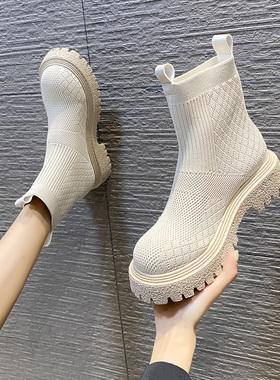 厚底马丁靴子女春秋单靴弹力袜靴英伦风2021年新款秋季瘦瘦小短靴