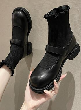 黑色小短靴女ins潮2021年秋季新款百搭韩版显瘦网红袜靴瘦瘦靴子