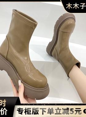 短筒靴女春秋新款网红百搭马丁靴子厚底短靴内增高后拉链英伦风