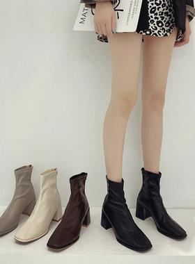 时尚部落高跟鞋女粗跟马丁靴2021年新款网红瘦瘦春秋单短筒靴子女