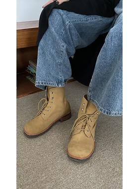 红人馆 卡其色马丁靴女款春秋新款单靴时尚洋气骑士靴潮ins酷靴子