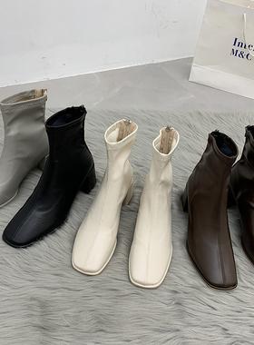 马丁靴夏季薄款女2021年新款高跟鞋女粗跟瘦瘦短靴子酷女春秋单靴