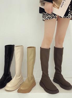 小众设计长靴女2021年春秋季新款网红街拍百搭白色长筒骑士靴子鞋