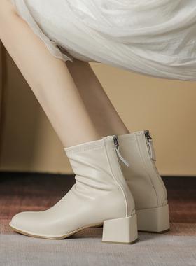 白色短靴子女粗跟方头法式2021秋冬英伦风中跟真皮瘦瘦靴高跟单靴