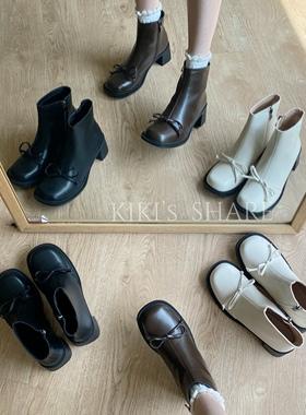 【琪琪酱】蝴蝶结圆头马丁靴女2021春秋新款小众靴子短靴粗跟单靴