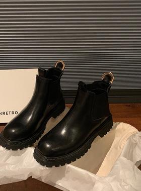 NRETRO 头层牛皮真皮短靴女2021新款春秋爆款单靴子英伦皮靴女鞋