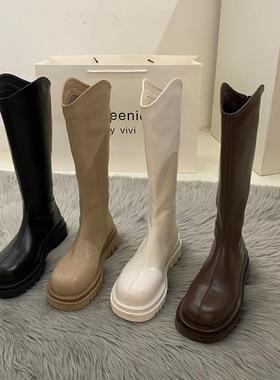 白色厚底小个子长筒长靴女鞋2021年新款中筒高筒骑士春秋季单靴子