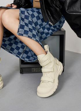 玛速主义2021新款原创小众设计魔术贴厚底马丁靴女秋百搭丑萌靴子