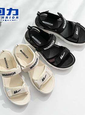 回力女凉鞋青少年女童鞋2021夏季新款厚底学院风中学生鞋软底白色