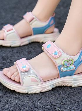 回力儿童女童凉鞋2021新款夏季小女孩公主运动软底沙滩鞋中大童鞋