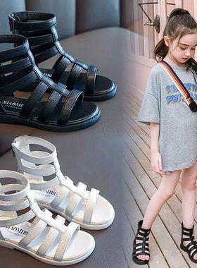 回力女童罗马凉鞋2021夏季新款中大童软底公主防滑小女孩儿童鞋子