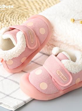 女宝宝棉鞋学步鞋秋冬季男童鞋子0-1-3岁2婴幼儿软底防滑加绒加厚