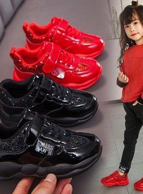 女童鞋子秋冬季儿童运动鞋2021时尚中大童鞋潮男童软底加绒老爹鞋