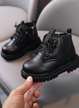 秋冬季女宝宝学步1一3岁儿童鞋马丁靴英伦风男童单靴加绒软底鞋子