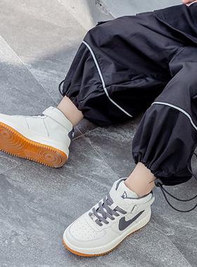 男童运动小白鞋潮牌高帮秋冬季2021新款儿童板鞋真皮加绒女童鞋潮
