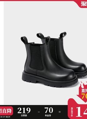 ELLE kids童鞋女童靴子秋冬季小女孩短靴男童皮靴加绒儿童马丁靴