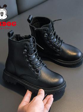 巴布豆童鞋女童马丁靴春秋款2021年新款冬季加绒短靴宝宝儿童靴子