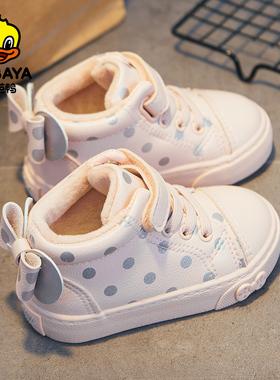 芭芭鸭儿童棉鞋加绒女童鞋子2021冬季新款宝宝小童女宝二棉鞋冬鞋