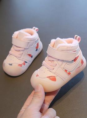 学步鞋女宝宝鞋子秋冬季0一1岁2加绒棉鞋婴儿鞋子软底不掉跟童鞋