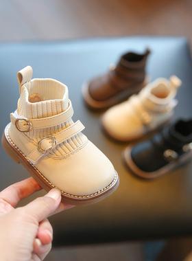 女宝宝鞋子秋冬季软底皮鞋1一2-3岁女童短靴婴儿公主鞋小童鞋靴子