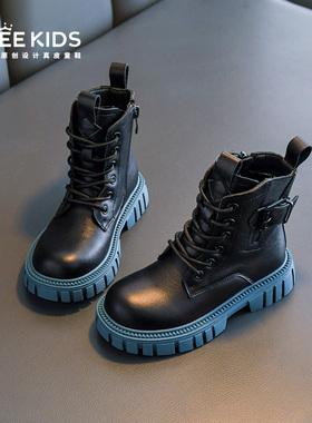 女童鞋马丁靴2021年秋冬季新款男童二棉春秋皮靴加绒短靴儿童靴子