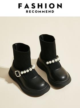 女童鞋2021年新款袜靴子儿童马丁短靴鞋春秋款秋季单靴袜子秋冬季