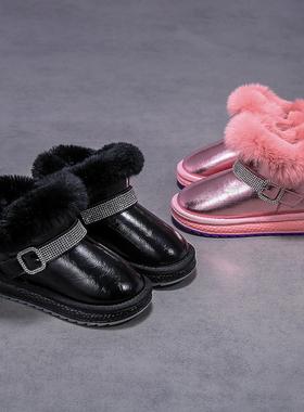 1111 猪猪侠童鞋2021冬季新款加绒鞋子女童靴子儿童冬季雪地靴