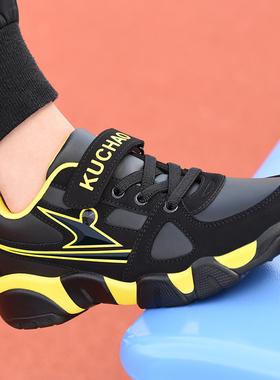 秋冬季新款中大童鞋男童运动鞋小学生皮面加绒儿童鞋子男孩旅游鞋