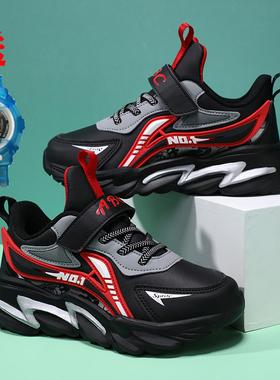 ABC男童鞋秋款儿童皮面防水跑步鞋男孩中大童冬季加绒保暖运动鞋