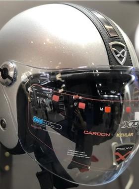 X NEXX哈雷复古摩托车头盔碳纤维双镜片vespa踏板骑行3/4半盔现货