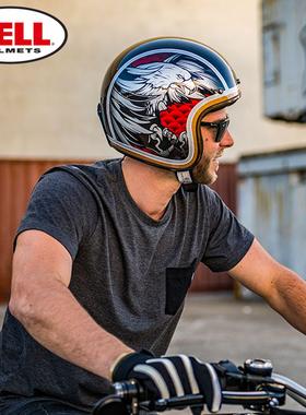 BELL美国正品碳纤维头盔男摩托车半盔夏季透气复古机车半盔个性酷