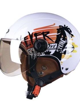 野马3C认证YM101电动电瓶摩托车头盔男女四季通用半盔秋冬安全帽
