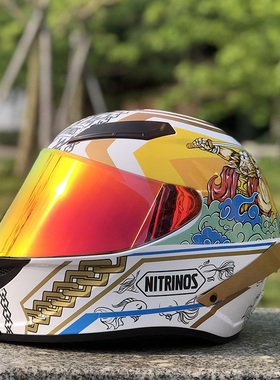 摩托车头盔全男女全盔全覆式个性炫酷四季机车赛车安全帽尾翼全盔