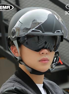 野马3c认证摩托电动车头盔男女夏季防晒哈雷半盔个性轻便式安全帽