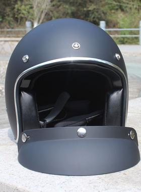 哈雷摩托车大头胖子大码头盔XXXXL号男机车半盔复古3/4盔大头福音