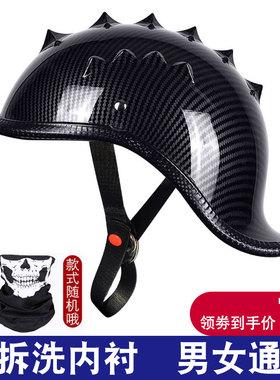 摩托车头盔男女哈雷瓢盔街车半盔复古机车翘盔电动个性轻便式太子