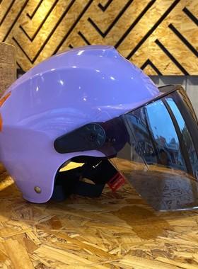 AD电动电瓶车头盔灰男女士款四季通用摩托半盔可爱防晒全盔安全帽