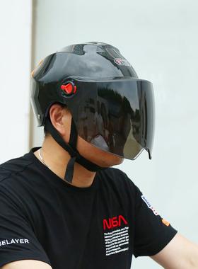 新交规电动车女夏天四季电瓶车安全帽半盔成人男士摩托车头盔透气