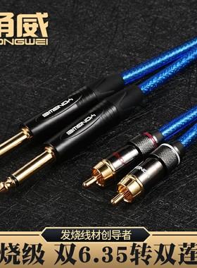 甬威 L602 6.5RCA音频线 双6.35转双RCA头 2对2莲花调音台音频线