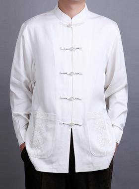 百福龙男唐装长袖上衣新款春装  高档民族风中式盘扣衬衫爸爸大码