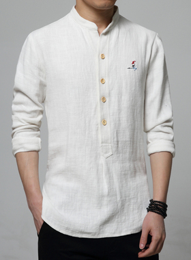 中国风唐装男春秋新疆棉上衣居士服禅服汉服古装茶人服亚麻衬衫